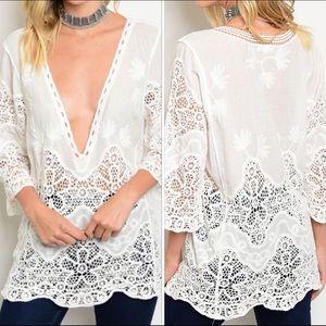 Tops - White 3/4 Sleeve Tunic Top, Crochet Detail